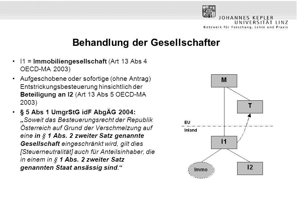 Behandlung der Gesellschafter I1 = Immobiliengesellschaft (Art 13 Abs 4 OECD-MA 2003) Aufgeschobene oder sofortige (ohne Antrag) Entstrickungsbesteuer