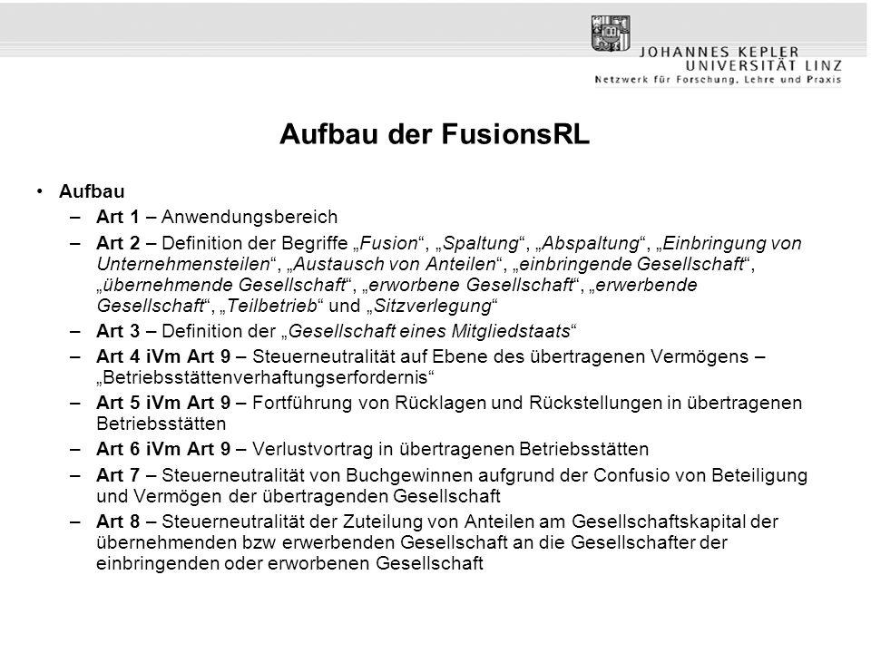 """Aufbau der FusionsRL Aufbau –Art 1 – Anwendungsbereich –Art 2 – Definition der Begriffe """"Fusion"""", """"Spaltung"""", """"Abspaltung"""", """"Einbringung von Unternehm"""
