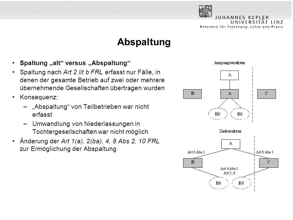 """Abspaltung Spaltung """"alt"""" versus """"Abspaltung"""" Spaltung nach Art 2 lit b FRL erfasst nur Fälle, in denen der gesamte Betrieb auf zwei oder mehrere über"""