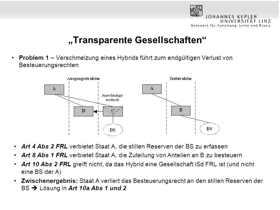 """""""Transparente Gesellschaften"""" Problem 1 – Verschmelzung eines Hybrids führt zum endgültigen Verlust von Besteuerungsrechten Art 4 Abs 2 FRL verbietet"""