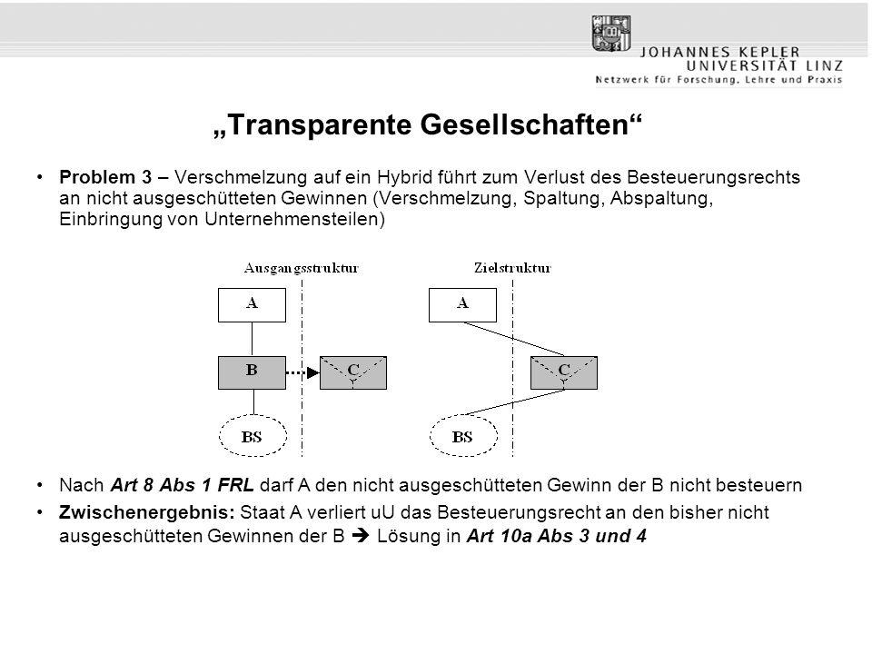 """""""Transparente Gesellschaften"""" Problem 3 – Verschmelzung auf ein Hybrid führt zum Verlust des Besteuerungsrechts an nicht ausgeschütteten Gewinnen (Ver"""