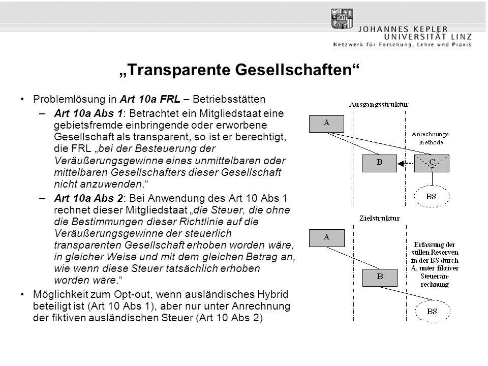 """""""Transparente Gesellschaften"""" Problemlösung in Art 10a FRL – Betriebsstätten –Art 10a Abs 1: Betrachtet ein Mitgliedstaat eine gebietsfremde einbringe"""
