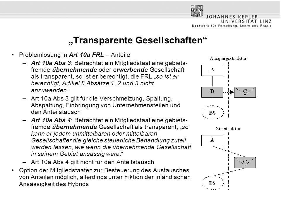 """""""Transparente Gesellschaften"""" Problemlösung in Art 10a FRL – Anteile –Art 10a Abs 3: Betrachtet ein Mitgliedstaat eine gebiets- fremde übernehmende od"""