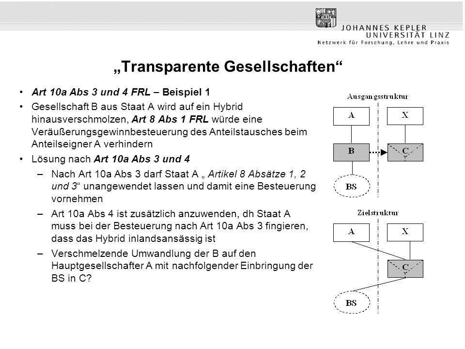 """""""Transparente Gesellschaften"""" Art 10a Abs 3 und 4 FRL – Beispiel 1 Gesellschaft B aus Staat A wird auf ein Hybrid hinausverschmolzen, Art 8 Abs 1 FRL"""