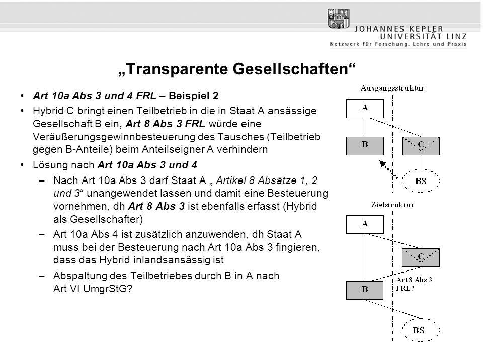 """""""Transparente Gesellschaften"""" Art 10a Abs 3 und 4 FRL – Beispiel 2 Hybrid C bringt einen Teilbetrieb in die in Staat A ansässige Gesellschaft B ein, A"""