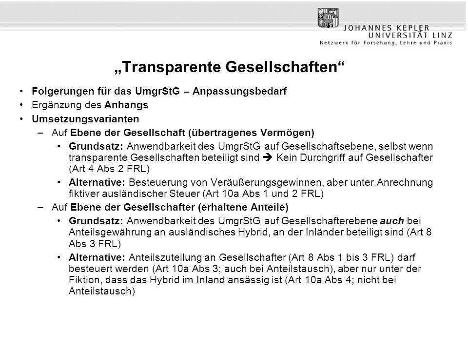 """""""Transparente Gesellschaften"""" Folgerungen für das UmgrStG – Anpassungsbedarf Ergänzung des Anhangs Umsetzungsvarianten –Auf Ebene der Gesellschaft (üb"""