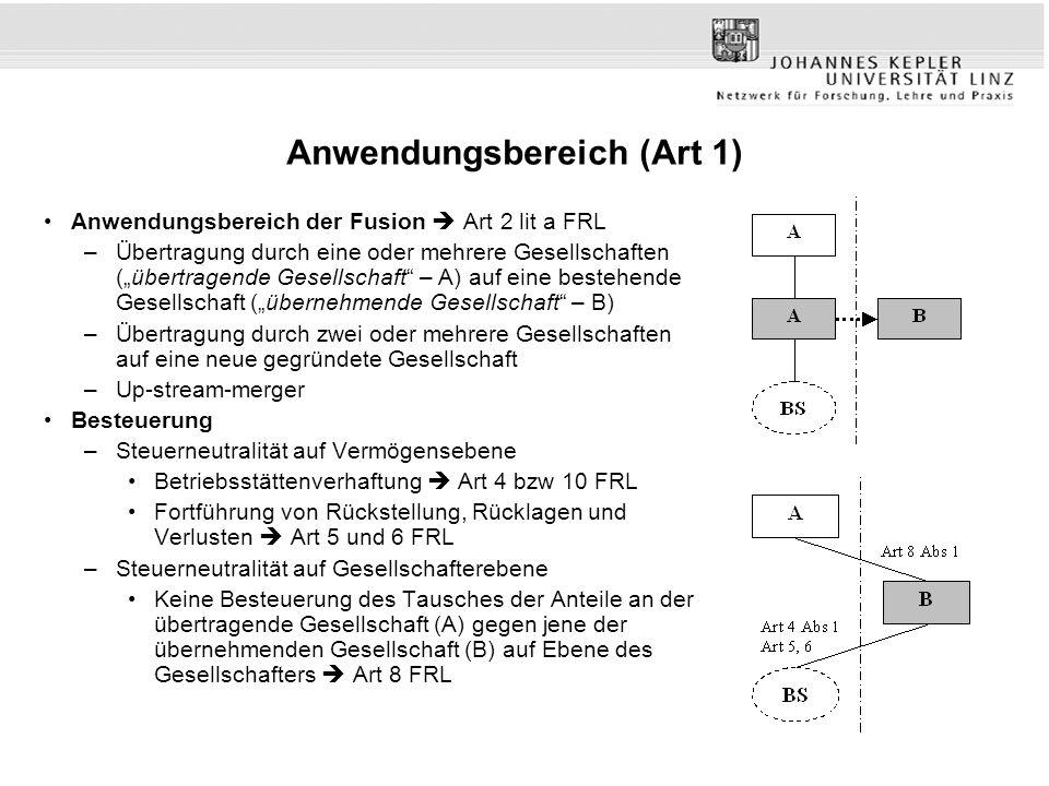 """Anwendungsbereich (Art 1) Anwendungsbereich der Fusion  Art 2 lit a FRL –Übertragung durch eine oder mehrere Gesellschaften (""""übertragende Gesellscha"""