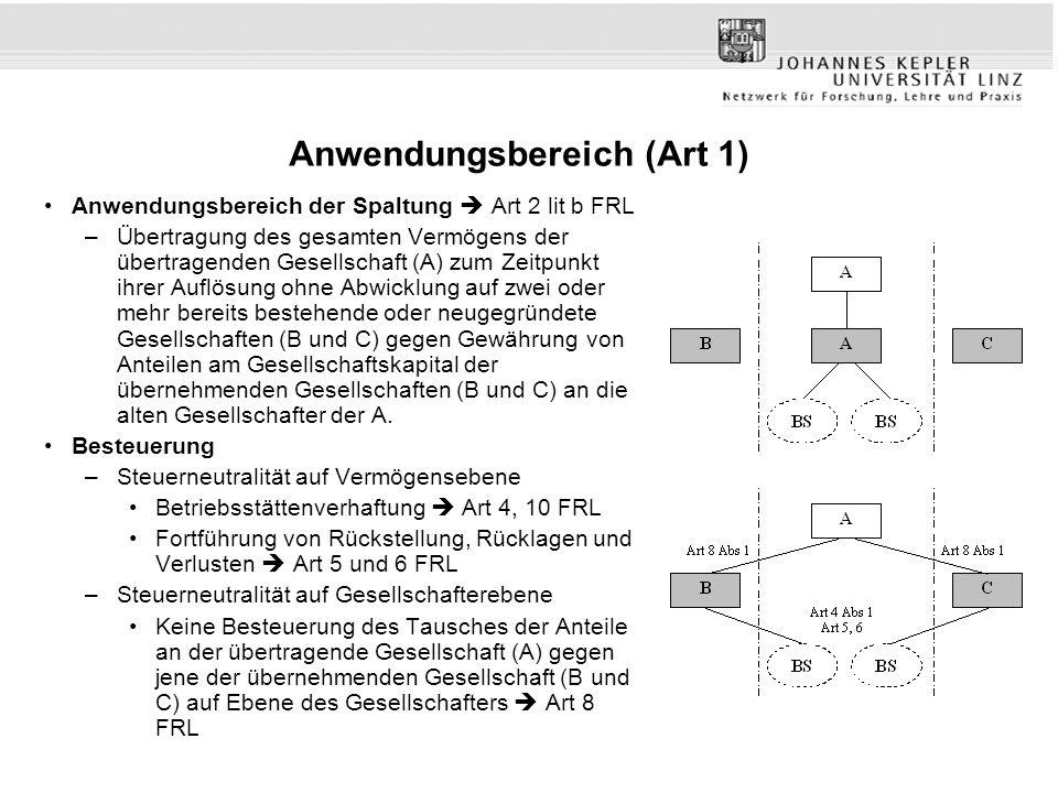 Anwendungsbereich (Art 1) Anwendungsbereich der Spaltung  Art 2 lit b FRL –Übertragung des gesamten Vermögens der übertragenden Gesellschaft (A) zum