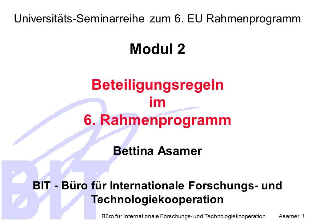 Büro für Internationale Forschungs- und Technologiekooperation Asamer 1 Universitäts-Seminarreihe zum 6.