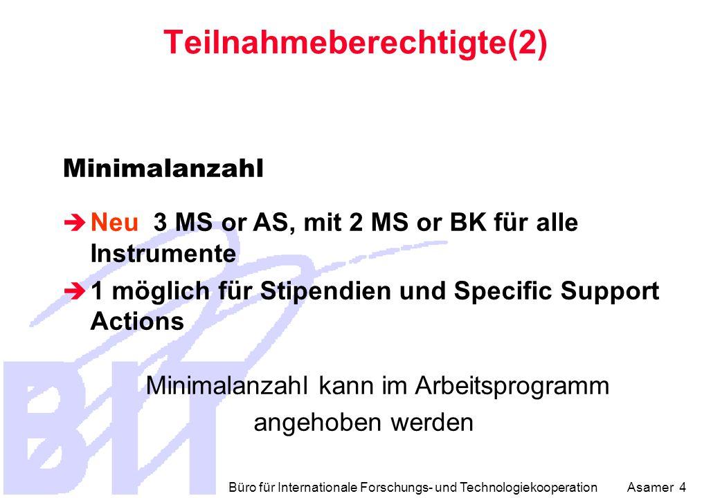 Büro für Internationale Forschungs- und Technologiekooperation Asamer 4 Teilnahmeberechtigte(2) Minimalanzahl  Neu 3 MS or AS, mit 2 MS or BK für alle Instrumente  1 möglich für Stipendien und Specific Support Actions Minimalanzahl kann im Arbeitsprogramm angehoben werden