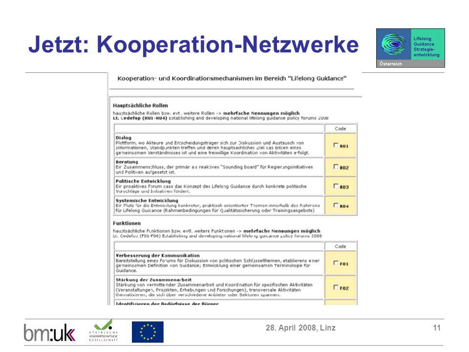 28. April 2008, Linz11 Jetzt: Kooperation-Netzwerke
