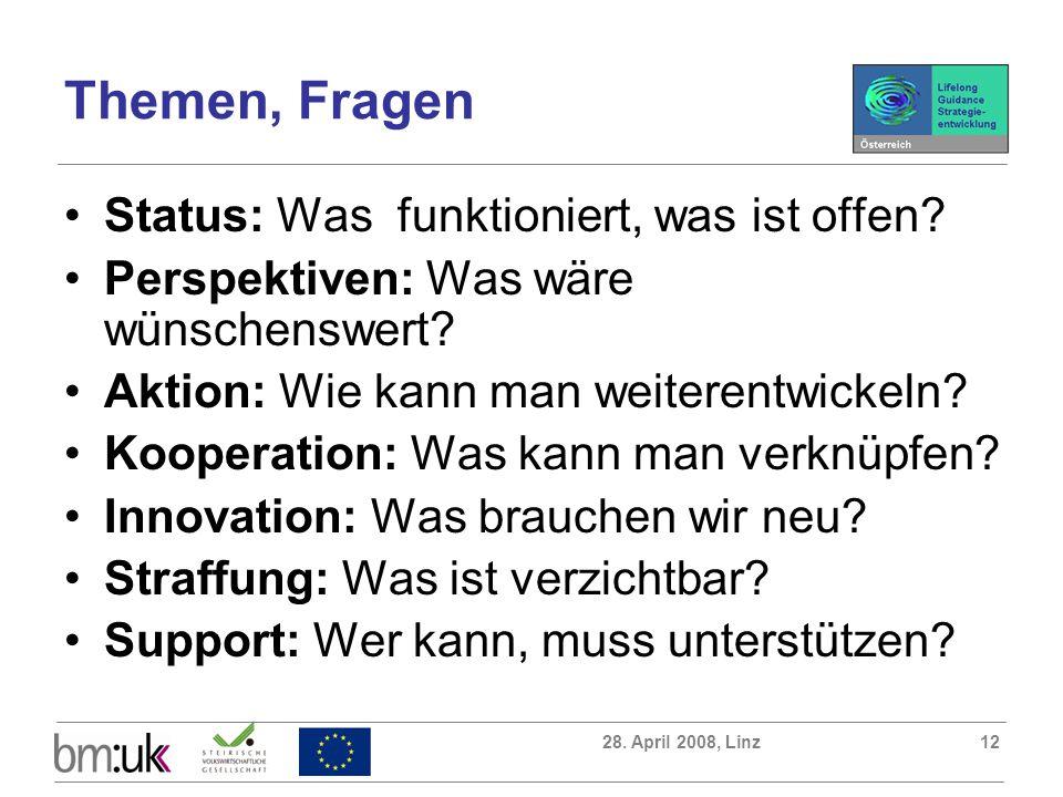 28. April 2008, Linz12 Themen, Fragen Status: Was funktioniert, was ist offen? Perspektiven: Was wäre wünschenswert? Aktion: Wie kann man weiterentwic