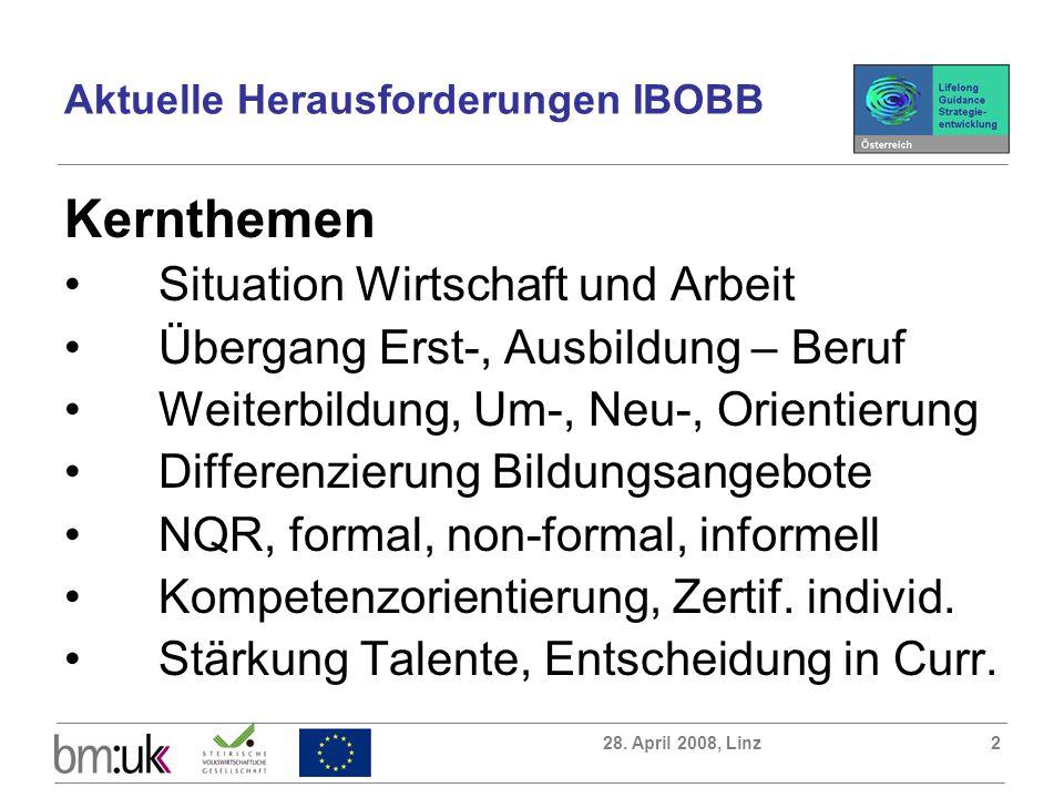 28. April 2008, Linz2 Kernthemen Situation Wirtschaft und Arbeit Übergang Erst-, Ausbildung – Beruf Weiterbildung, Um-, Neu-, Orientierung Differenzie