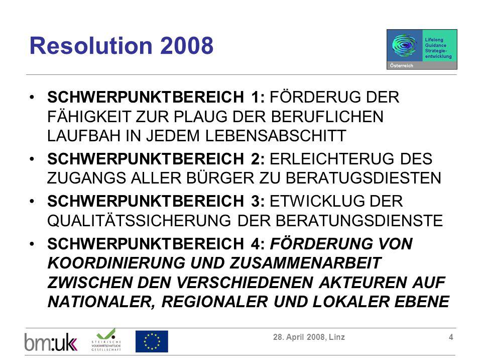 28. April 2008, Linz4 Resolution 2008 SCHWERPUNKTBEREICH 1: FÖRDERUG DER FÄHIGKEIT ZUR PLAUG DER BERUFLICHEN LAUFBAH IN JEDEM LEBENSABSCHITT SCHWERPUN