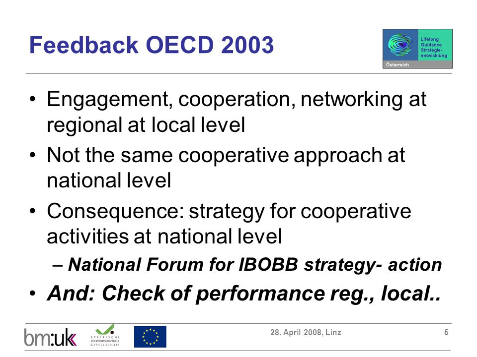 28. April 2008, Linz5 Feedback OECD 2003 Engagement, cooperation, networking at regional at local level Not the same cooperative approach at national