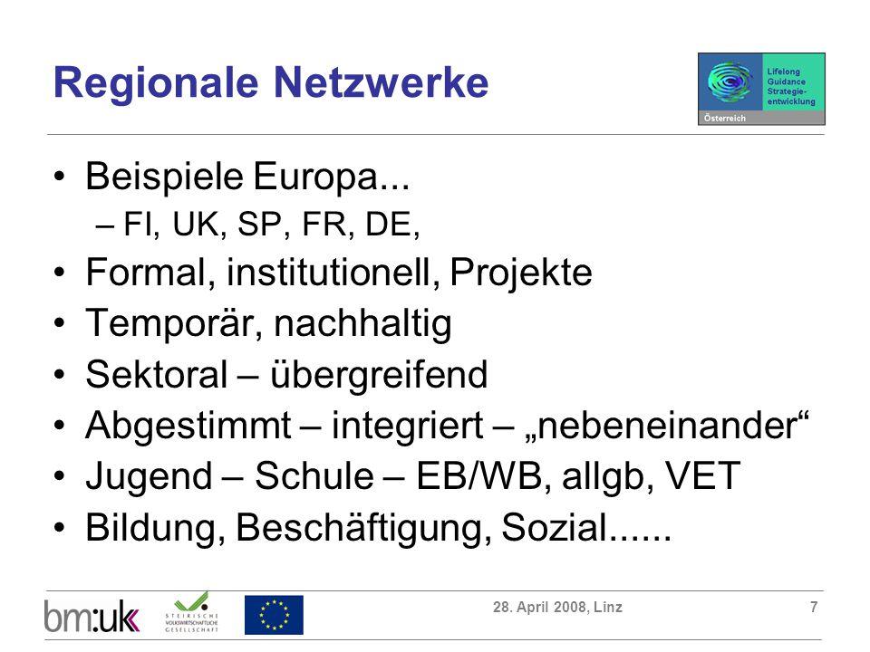 28. April 2008, Linz7 Regionale Netzwerke Beispiele Europa... –FI, UK, SP, FR, DE, Formal, institutionell, Projekte Temporär, nachhaltig Sektoral – üb