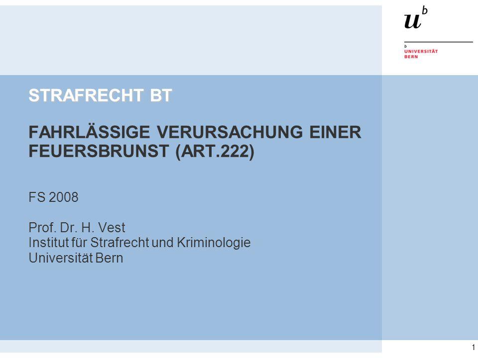 1 STRAFRECHT BT STRAFRECHT BT FAHRLÄSSIGE VERURSACHUNG EINER FEUERSBRUNST (ART.222) FS 2008 Prof. Dr. H. Vest Institut für Strafrecht und Kriminologie