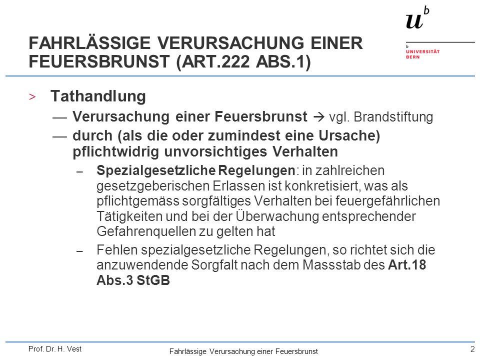 Fahrlässige Verursachung einer Feuersbrunst 2 Prof. Dr. H. Vest FAHRLÄSSIGE VERURSACHUNG EINER FEUERSBRUNST (ART.222 ABS.1) > Tathandlung —Verursachun