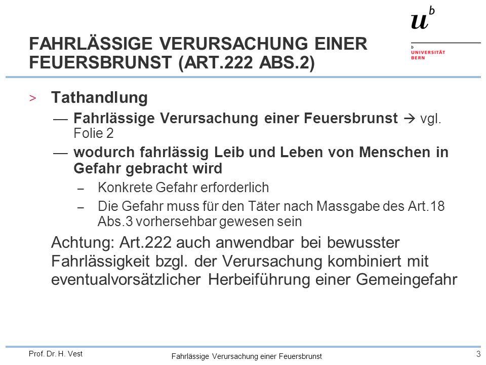 Fahrlässige Verursachung einer Feuersbrunst 3 Prof. Dr. H. Vest FAHRLÄSSIGE VERURSACHUNG EINER FEUERSBRUNST (ART.222 ABS.2) > Tathandlung —Fahrlässige