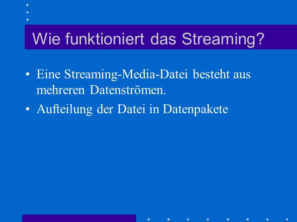 Wie funktioniert das Streaming? Eine Streaming-Media-Datei besteht aus mehreren Datenströmen. Aufteilung der Datei in Datenpakete