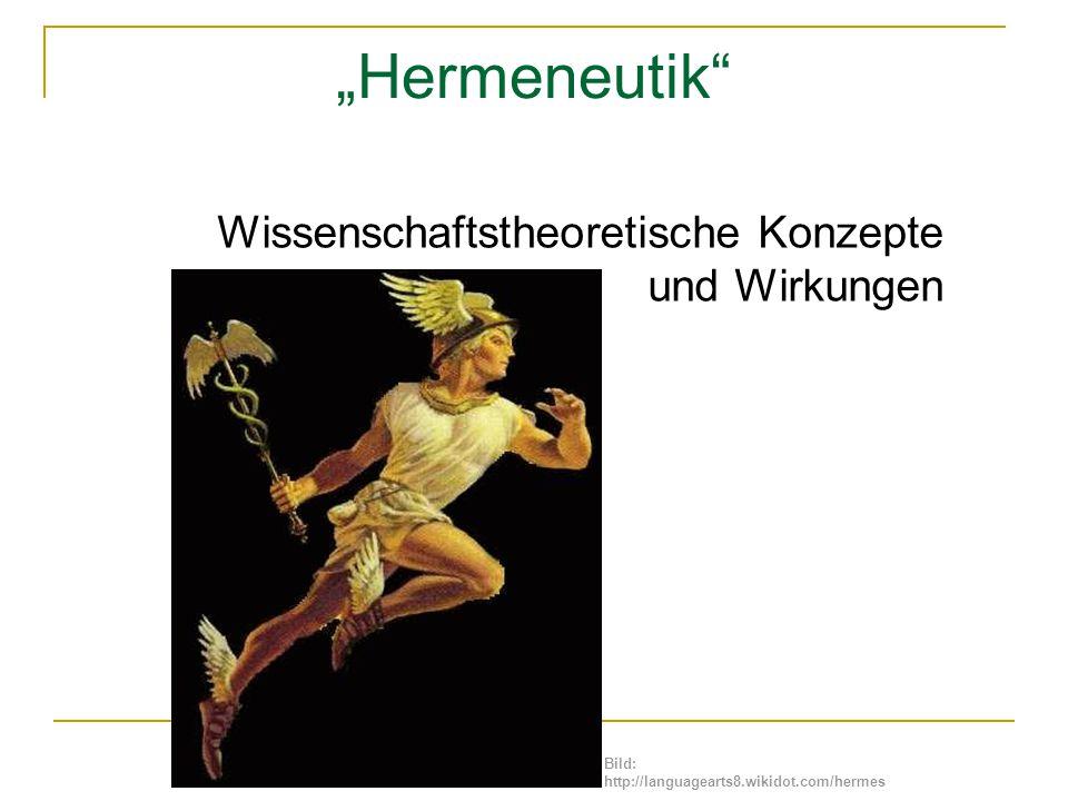 """""""Hermeneutik"""" Wissenschaftstheoretische Konzepte und Wirkungen Bild: http://languagearts8.wikidot.com/hermes"""