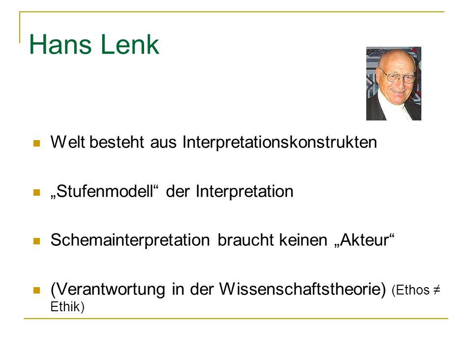 """Hans Lenk Welt besteht aus Interpretationskonstrukten """"Stufenmodell"""" der Interpretation Schemainterpretation braucht keinen """"Akteur"""" (Verantwortung in"""