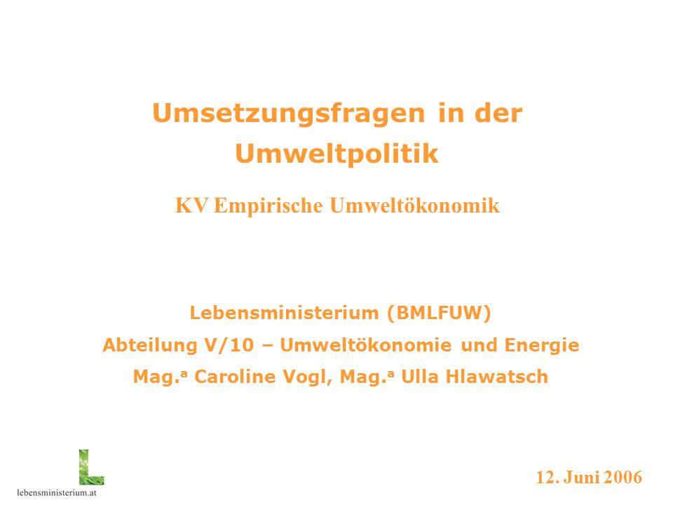 Umsetzungsfragen der Umweltpolitik Umweltpolitik in Österreich Lebensministerium - BMLFUW Abteilung Umweltökonomie und Energie  Typische Aufgaben  Umweltökonomie  Energie Umweltpolitik in der EU rechtliche Verankerung Gremien und Prozedere Mitentscheidungsverfahren Aktuelle Prozesse Umweltpolitik international