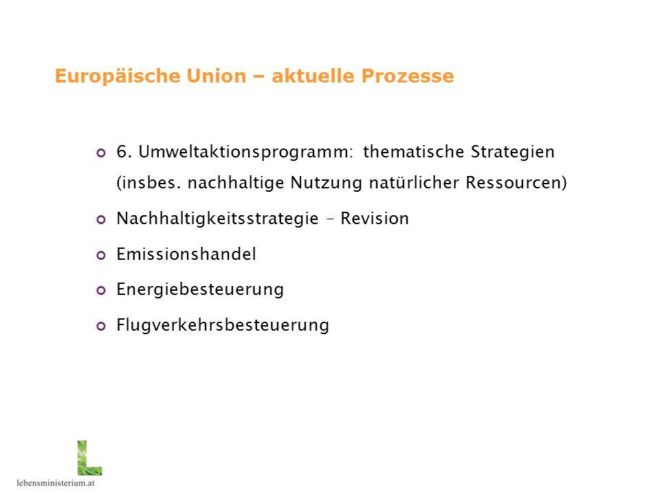 Europäische Union – aktuelle Prozesse 6. Umweltaktionsprogramm: thematische Strategien (insbes.