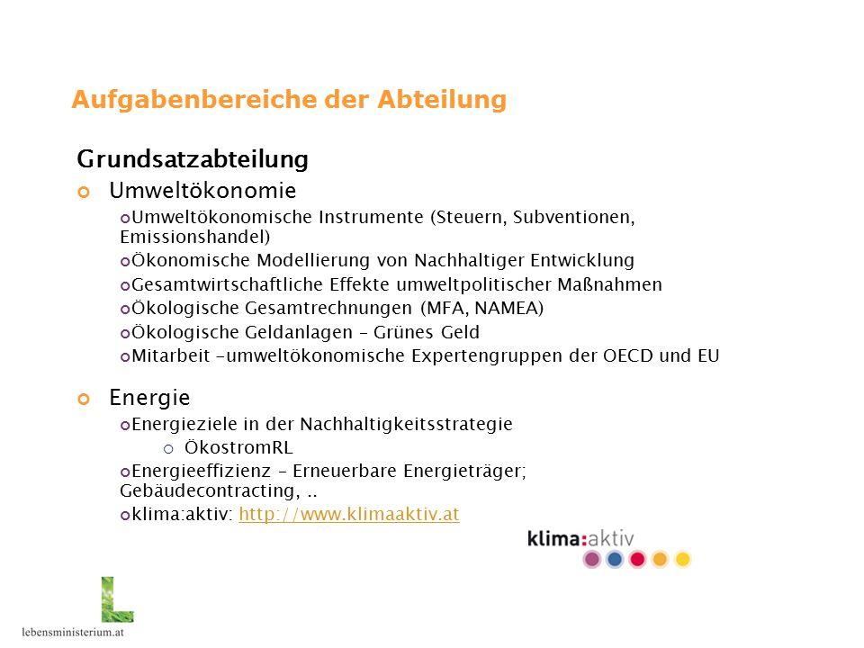 Aufgabenbereiche der Abteilung Grundsatzabteilung Umweltökonomie Umweltökonomische Instrumente (Steuern, Subventionen, Emissionshandel) Ökonomische Modellierung von Nachhaltiger Entwicklung Gesamtwirtschaftliche Effekte umweltpolitischer Maßnahmen Ökologische Gesamtrechnungen (MFA, NAMEA) Ökologische Geldanlagen – Grünes Geld Mitarbeit -umweltökonomische Expertengruppen der OECD und EU Energie Energieziele in der Nachhaltigkeitsstrategie  ÖkostromRL Energieeffizienz – Erneuerbare Energieträger; Gebäudecontracting,..