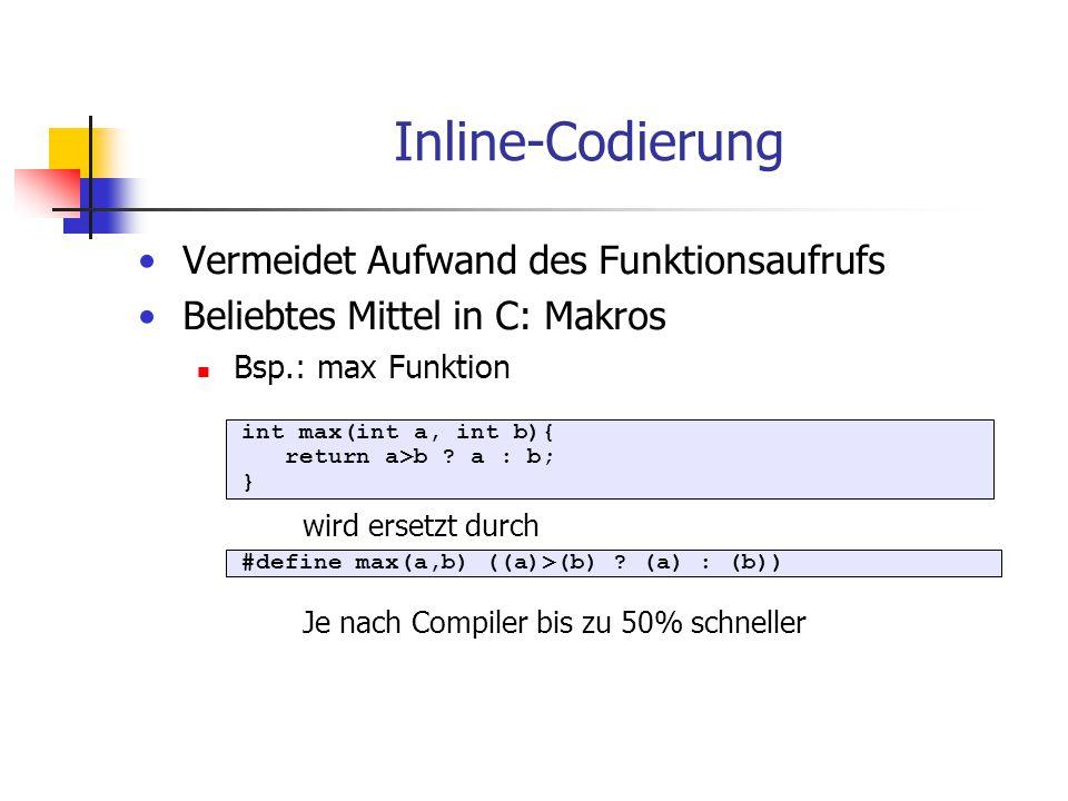 Inline-Codierung Vermeidet Aufwand des Funktionsaufrufs Beliebtes Mittel in C: Makros Bsp.: max Funktion int max(int a, int b){ return a>b ? a : b; }