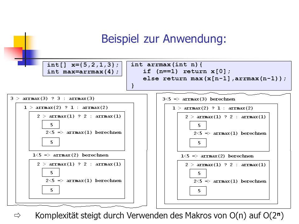 int[] x={5,2,1,3}; int max=arrmax(4); Beispiel zur Anwendung:  Komplexität steigt durch Verwenden des Makros von O(n) auf O(2 n ) int arrmax(int n){