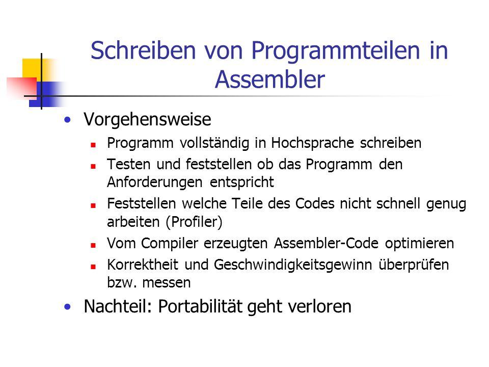 Schreiben von Programmteilen in Assembler Vorgehensweise Programm vollständig in Hochsprache schreiben Testen und feststellen ob das Programm den Anfo