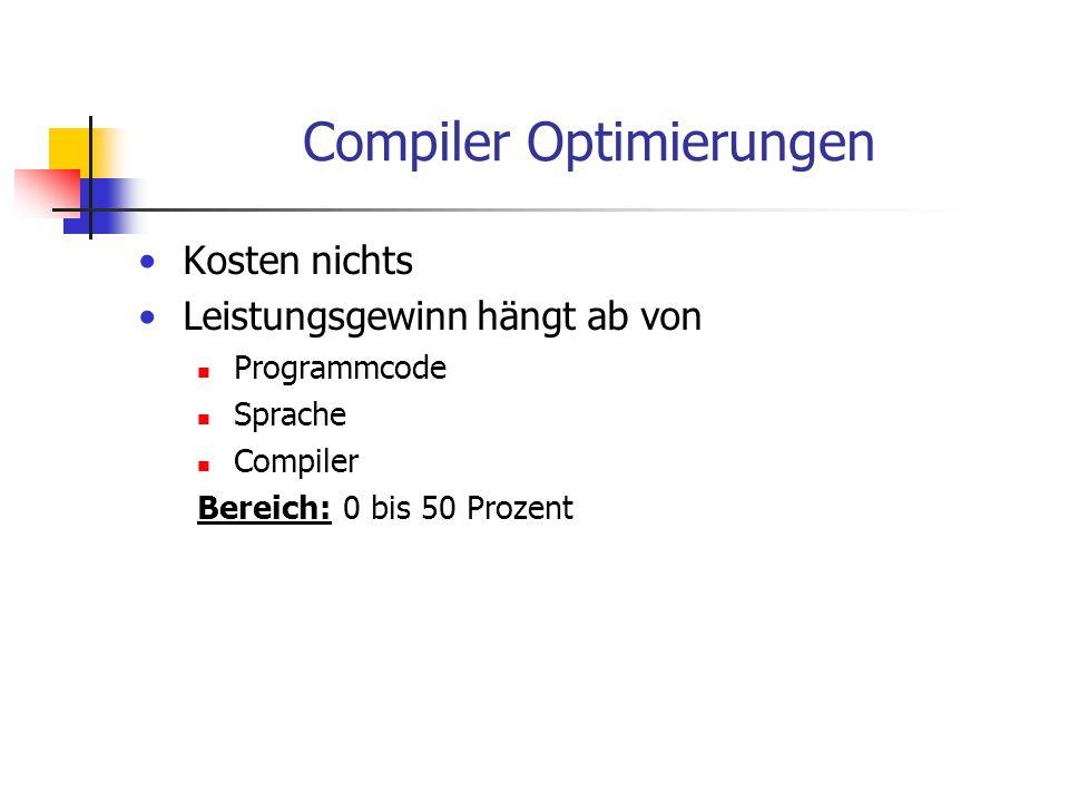 Compiler Optimierungen Kosten nichts Leistungsgewinn hängt ab von Programmcode Sprache Compiler Bereich: 0 bis 50 Prozent