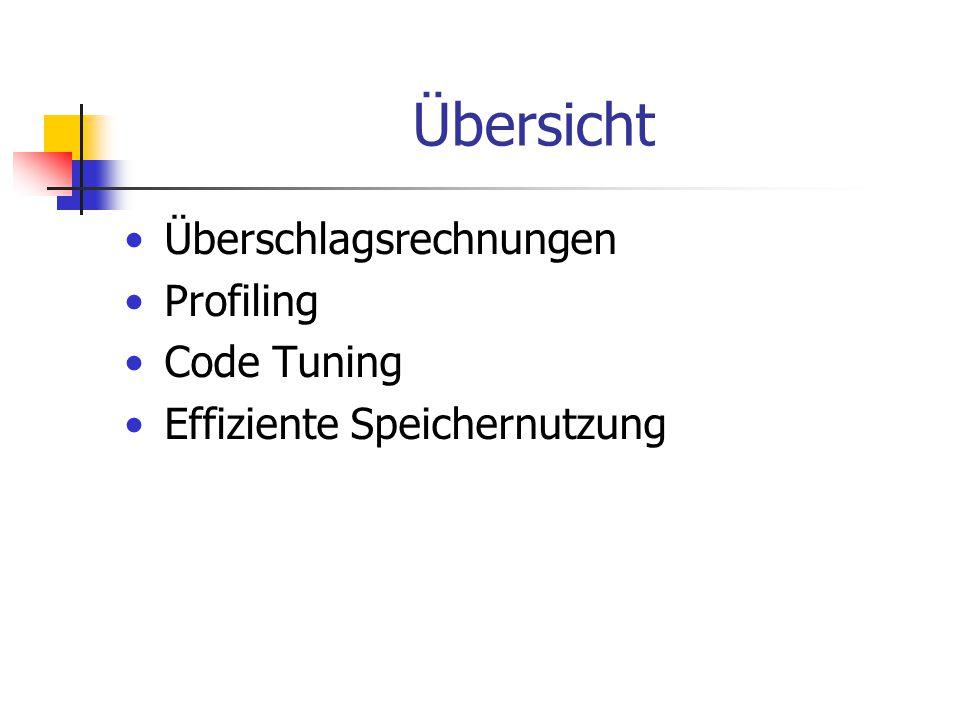 Übersicht Überschlagsrechnungen Profiling Code Tuning Effiziente Speichernutzung