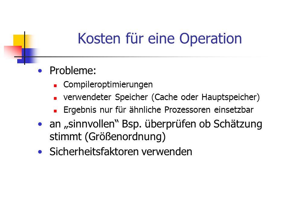 Kosten für eine Operation Probleme: Compileroptimierungen verwendeter Speicher (Cache oder Hauptspeicher) Ergebnis nur für ähnliche Prozessoren einset