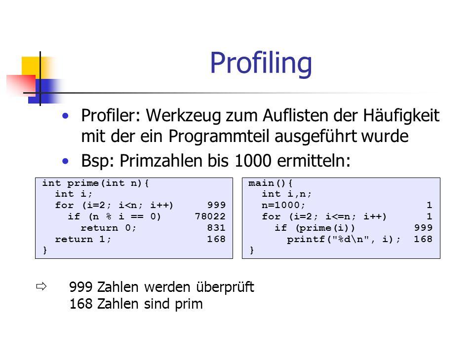 Profiling Profiler: Werkzeug zum Auflisten der Häufigkeit mit der ein Programmteil ausgeführt wurde Bsp: Primzahlen bis 1000 ermitteln: int prime(int