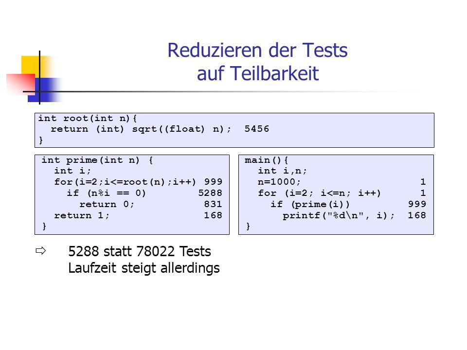 Speichern für Wiederverwendung Einmalige Berechnung von Funktionsergebnissen zur Implementierungszeit (Ergebnisse in Datei speichern) zur Initialisierungszeit bei erstem Aufruf z.B.: Tabelle mit vorberechneten Sinuswerten 0 bis 90 Grad (Rest kann berechnet werden) 0.1 Grad Schritte void InitTab(){ for(int x=0;x<=900;x++) sinTab[x]=Math.sin(x); } double SinTab(int n){ if(sinTab[n]<-1) sinTab[n]=Math.sin(n/10); return sinTab[n]; } bei Initialisierung:bei erstem Aufruf:
