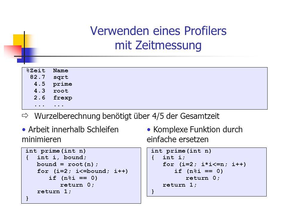%Zeit Name 82.7 sqrt 4.5 prime 4.3 root 2.6 frexp...... int prime(int n) { int i, bound; bound = root(n); for (i=2; i<=bound; i++) if (n%i == 0) retur