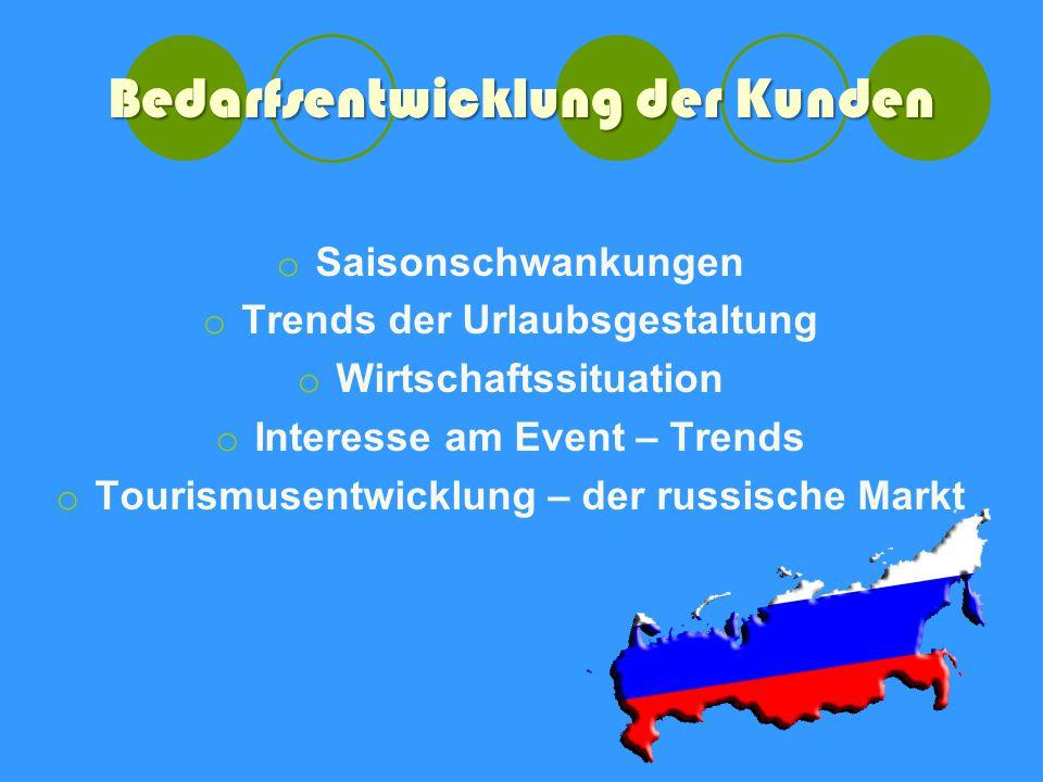 Bedarfsentwicklung der Kunden o Saisonschwankungen o Trends der Urlaubsgestaltung o Wirtschaftssituation o Interesse am Event – Trends o Tourismusentwicklung – der russische Markt