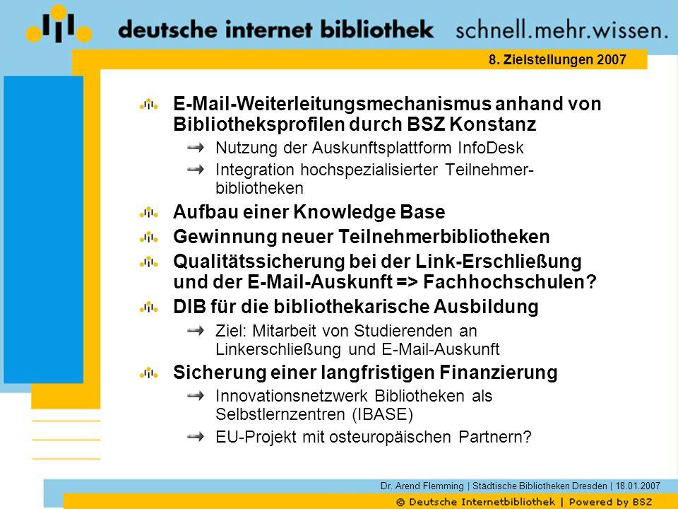 Dr. Arend Flemming | Städtische Bibliotheken Dresden | 18.01.2007 8. Zielstellungen 2007 E-Mail-Weiterleitungsmechanismus anhand von Bibliotheksprofil