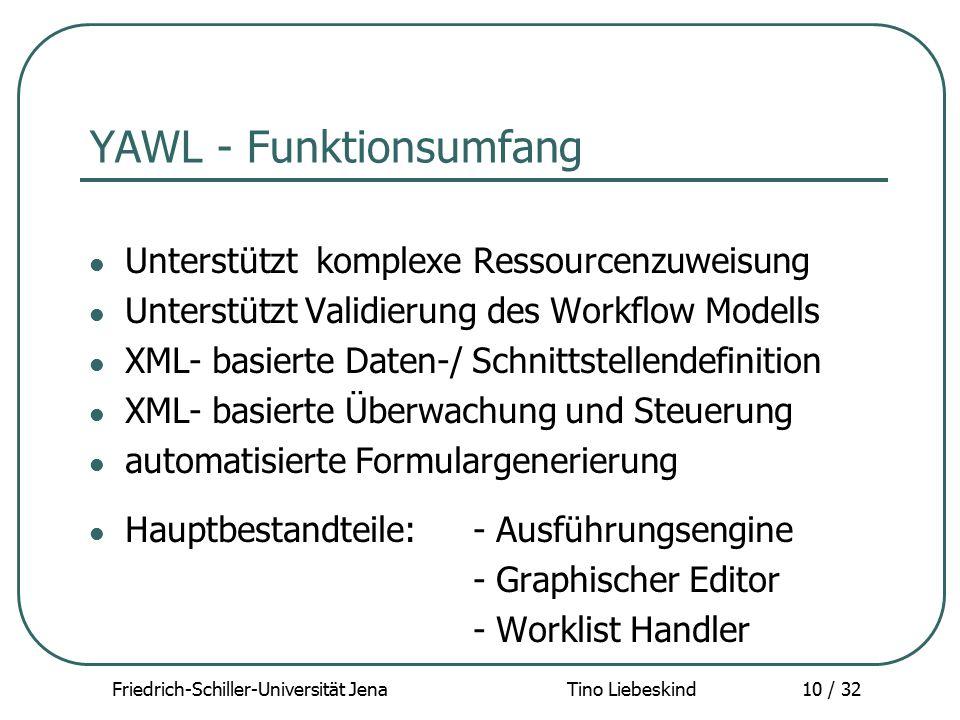 Friedrich-Schiller-Universität Jena Tino Liebeskind10 / 32 YAWL - Funktionsumfang Unterstützt komplexe Ressourcenzuweisung Unterstützt Validierung des
