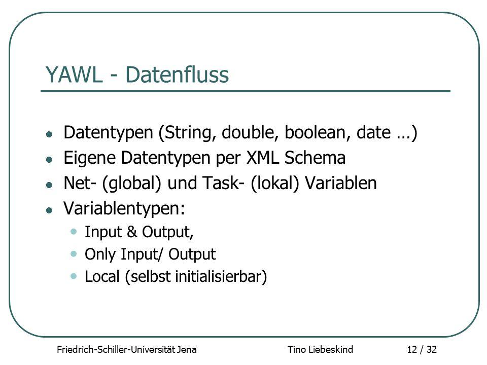 Friedrich-Schiller-Universität Jena Tino Liebeskind12 / 32 YAWL - Datenfluss Datentypen (String, double, boolean, date …) Eigene Datentypen per XML Sc