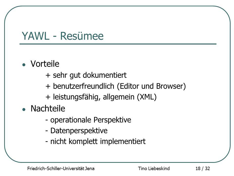 Friedrich-Schiller-Universität Jena Tino Liebeskind18 / 32 YAWL - Resümee Vorteile + sehr gut dokumentiert + benutzerfreundlich (Editor und Browser) +