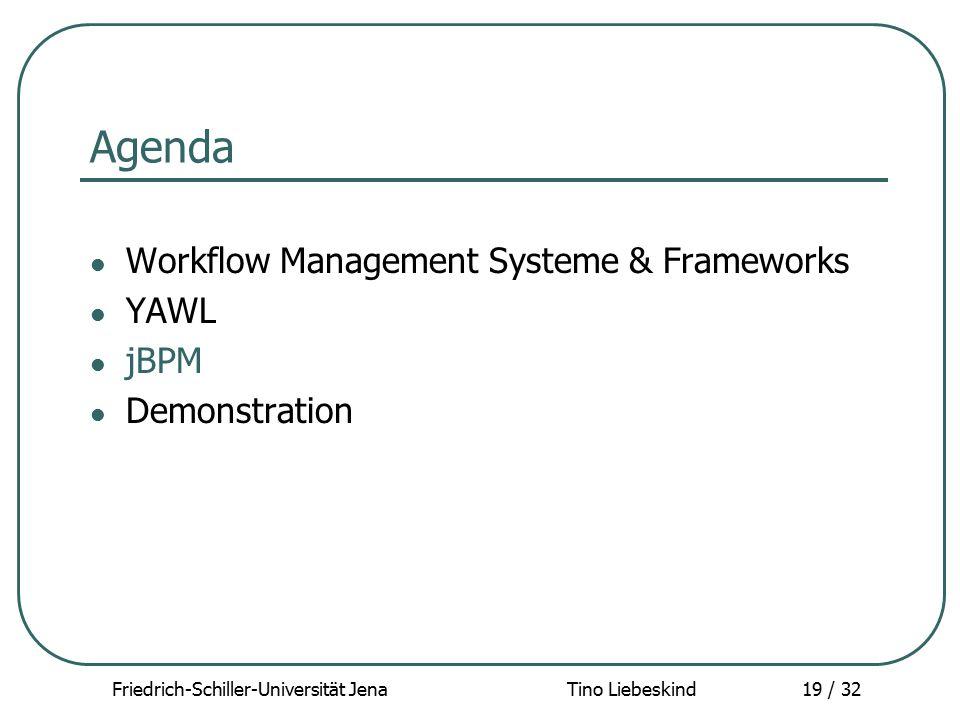 Friedrich-Schiller-Universität Jena Tino Liebeskind19 / 32 Agenda Workflow Management Systeme & Frameworks YAWL jBPM Demonstration