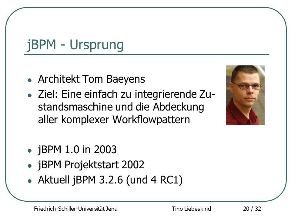 Friedrich-Schiller-Universität Jena Tino Liebeskind20 / 32 jBPM - Ursprung Architekt Tom Baeyens Ziel: Eine einfach zu integrierende Zu- standsmaschin