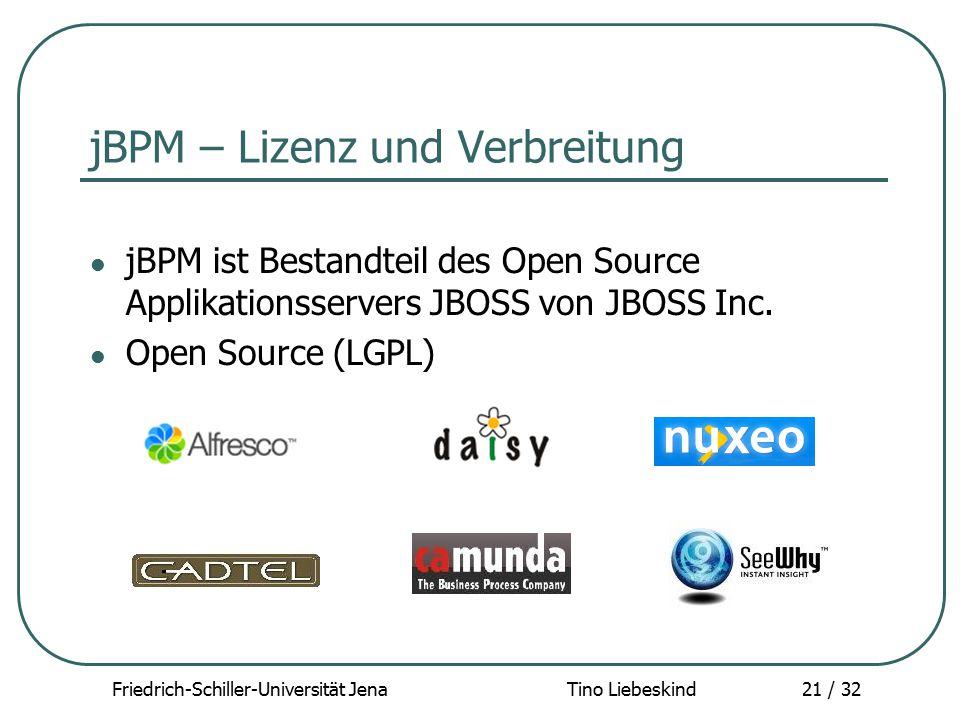 Friedrich-Schiller-Universität Jena Tino Liebeskind21 / 32 jBPM – Lizenz und Verbreitung jBPM ist Bestandteil des Open Source Applikationsservers JBOS
