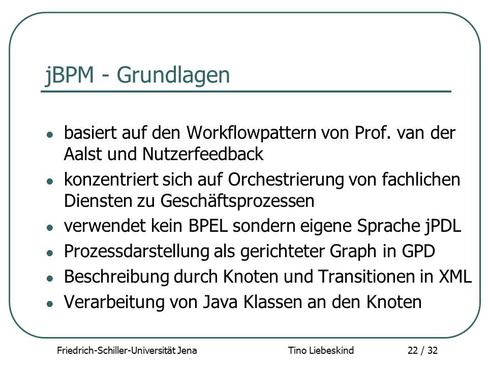 Friedrich-Schiller-Universität Jena Tino Liebeskind22 / 32 jBPM - Grundlagen basiert auf den Workflowpattern von Prof. van der Aalst und Nutzerfeedbac