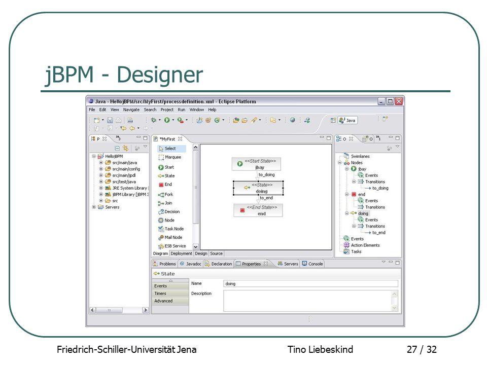 Friedrich-Schiller-Universität Jena Tino Liebeskind27 / 32 jBPM - Designer
