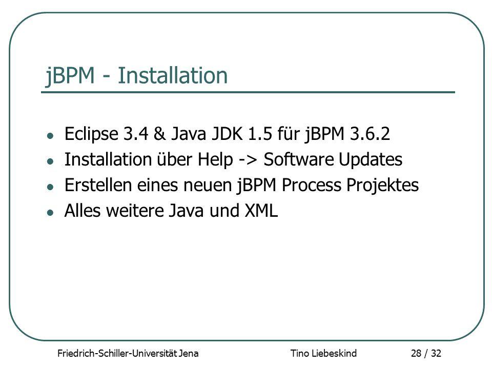 Friedrich-Schiller-Universität Jena Tino Liebeskind28 / 32 jBPM - Installation Eclipse 3.4 & Java JDK 1.5 für jBPM 3.6.2 Installation über Help -> Sof