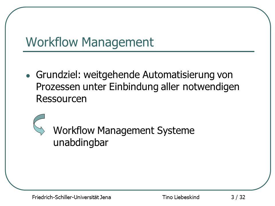 Friedrich-Schiller-Universität Jena Tino Liebeskind3 / 32 Workflow Management Grundziel: weitgehende Automatisierung von Prozessen unter Einbindung al